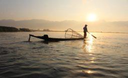 fisherman boat in a lake